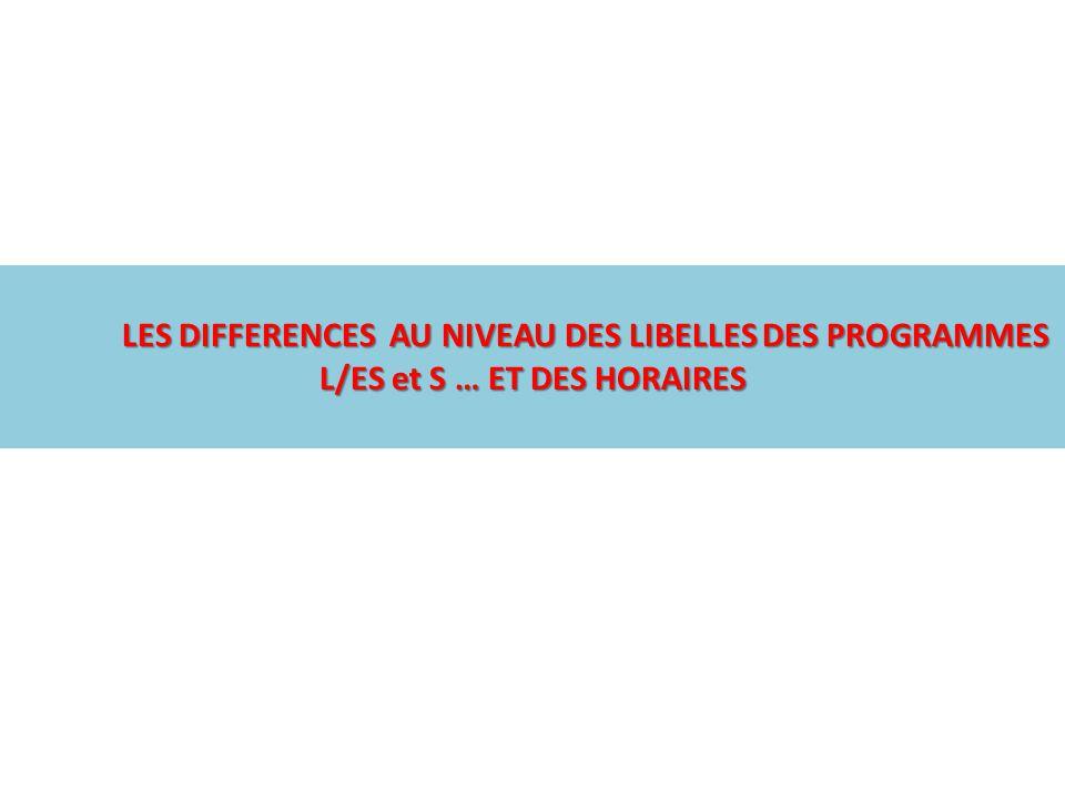 LES DIFFERENCES AU NIVEAU DES LIBELLES DES PROGRAMMES L/ES et S … ET DES HORAIRES