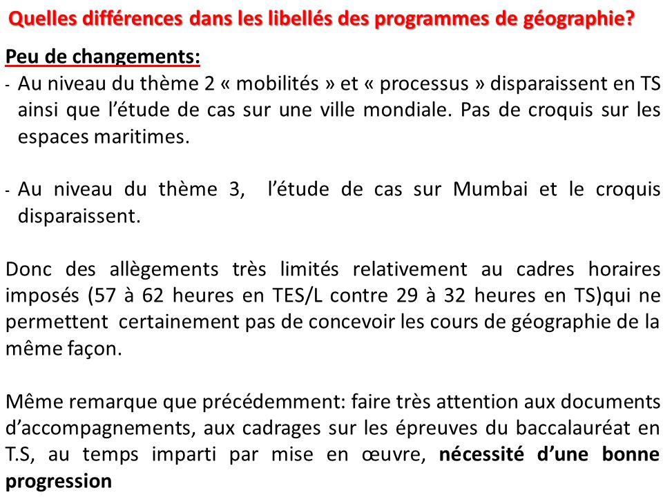 Quelles différences dans les libellés des programmes de géographie