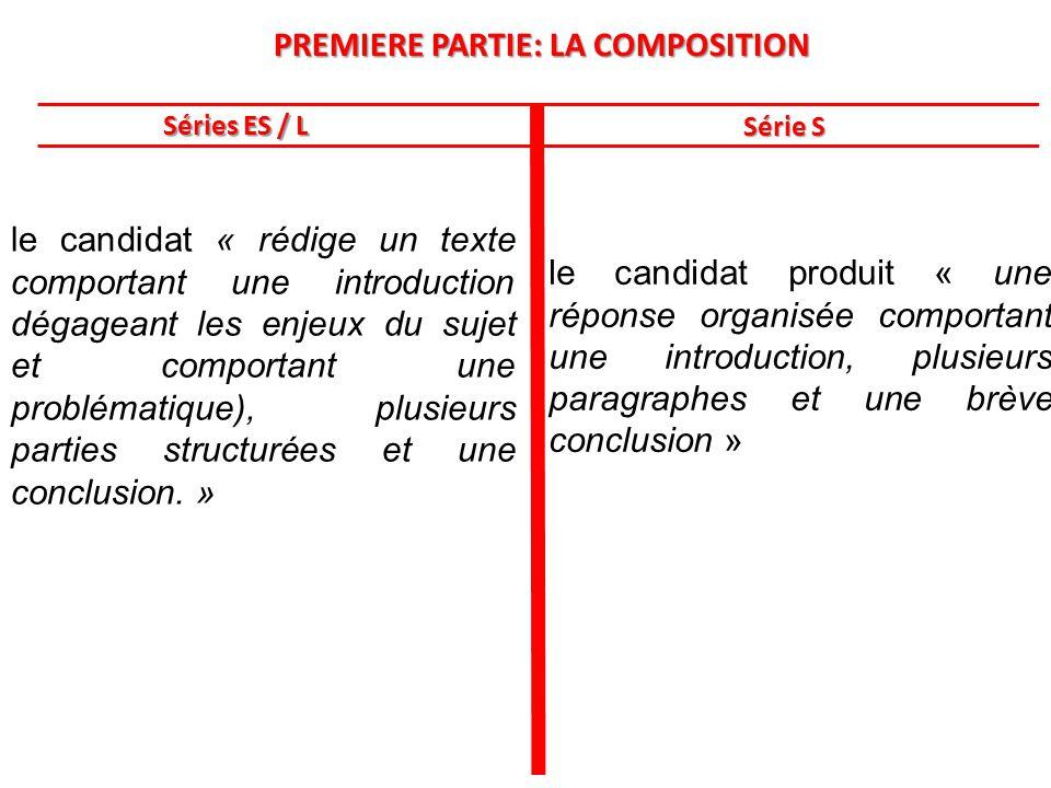 PREMIERE PARTIE: LA COMPOSITION