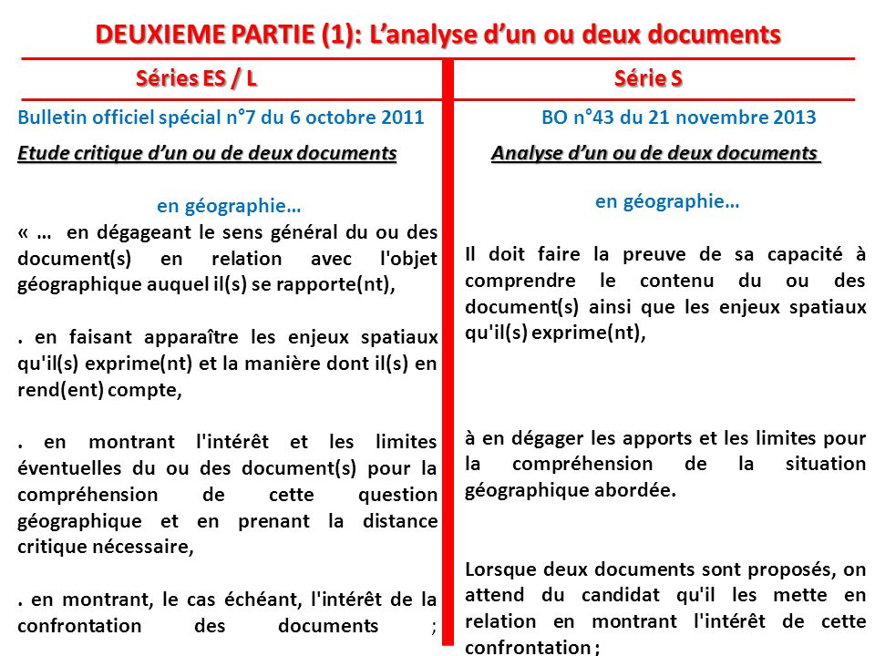 DEUXIEME PARTIE (1): L'analyse d'un ou deux documents