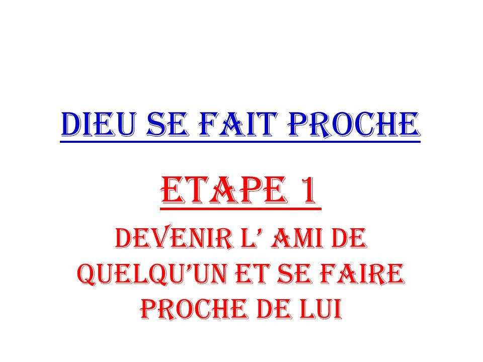 ETAPE 1 DEVENIR L' AMI DE QUELQU'UN ET SE FAIRE PROCHE DE LUI
