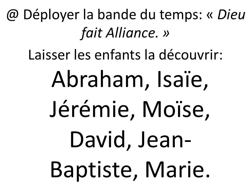@ Déployer la bande du temps: « Dieu fait Alliance. »