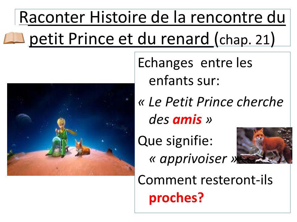 Raconter Histoire de la rencontre du petit Prince et du renard (chap