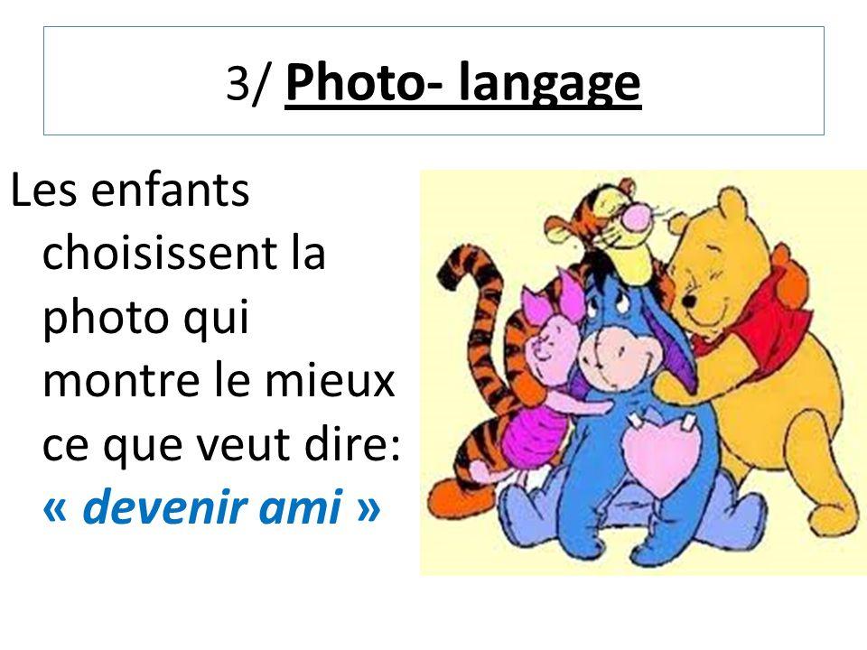 3/ Photo- langage Les enfants choisissent la photo qui montre le mieux ce que veut dire: « devenir ami »