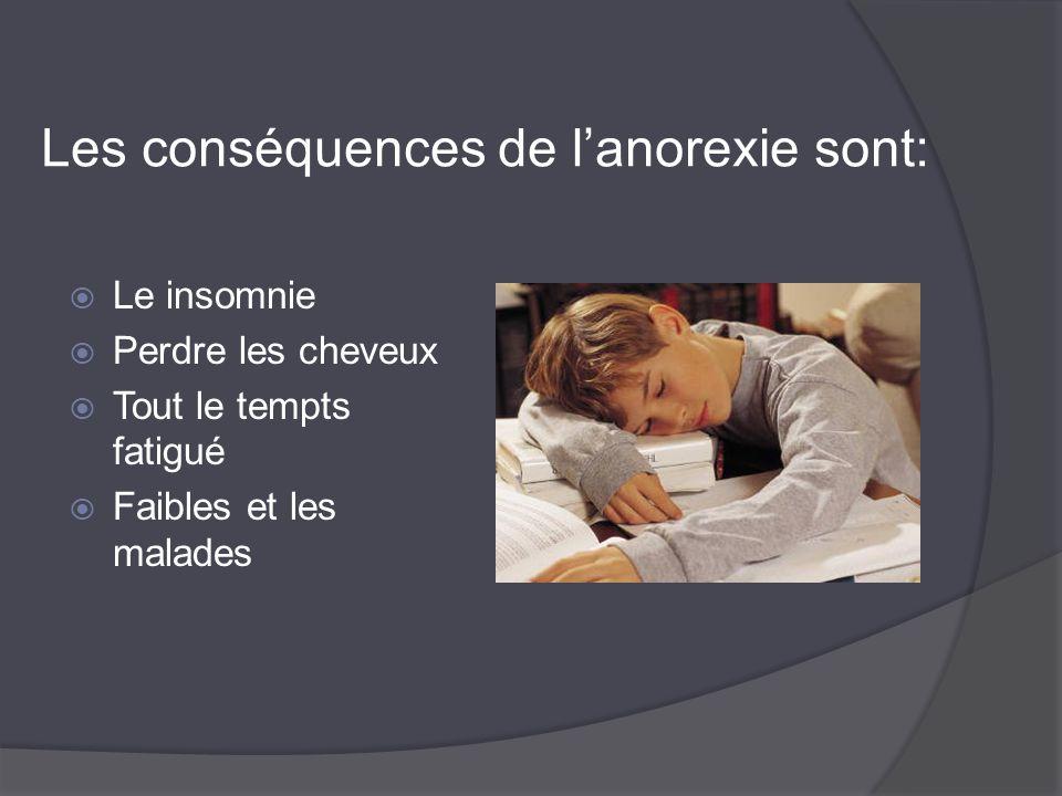 Les conséquences de l'anorexie sont: