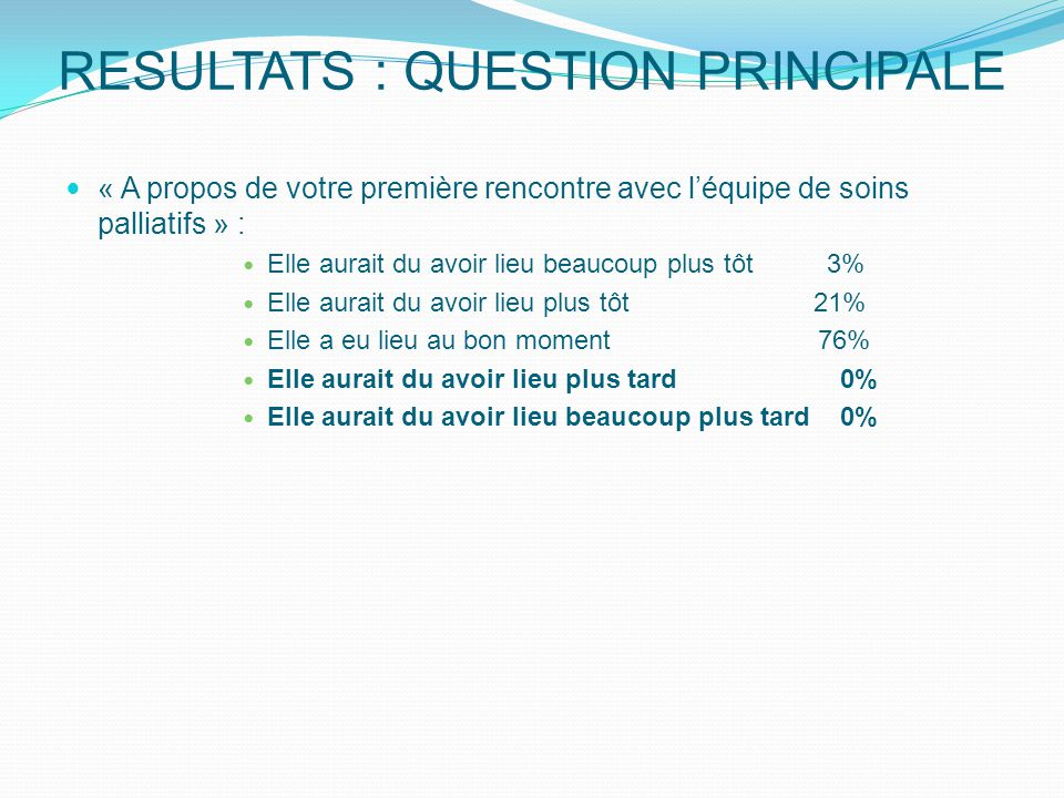 RESULTATS : QUESTION PRINCIPALE