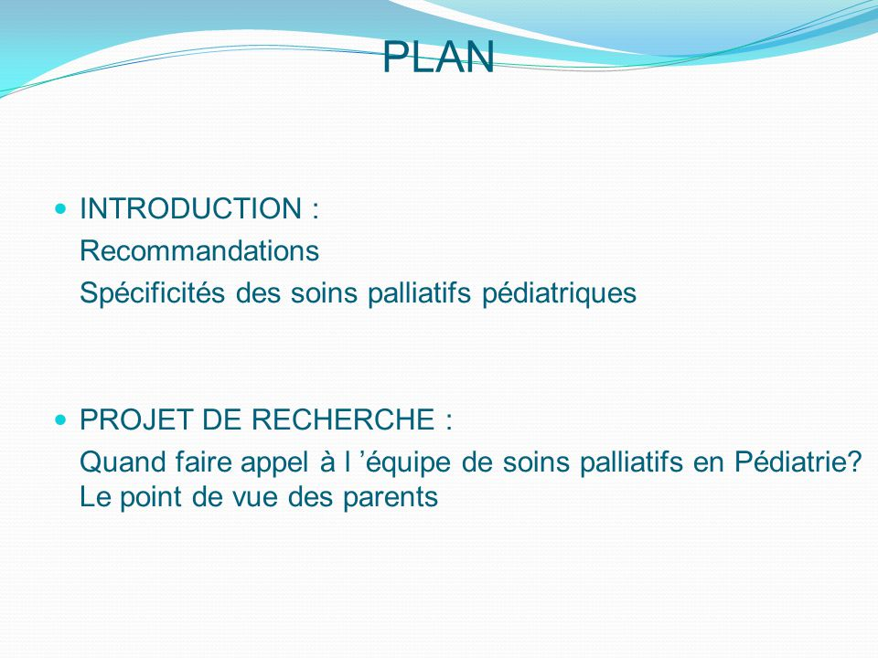 PLAN INTRODUCTION : Recommandations