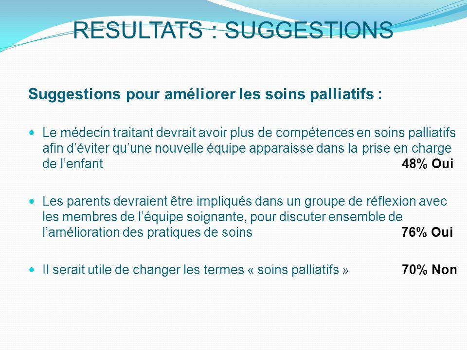 RESULTATS : SUGGESTIONS