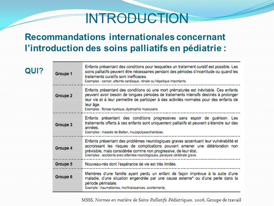 INTRODUCTION Recommandations internationales concernant l'introduction des soins palliatifs en pédiatrie :