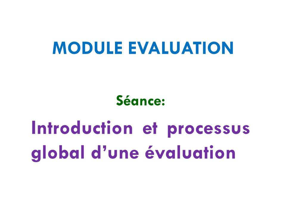 Séance: Introduction et processus global d'une évaluation