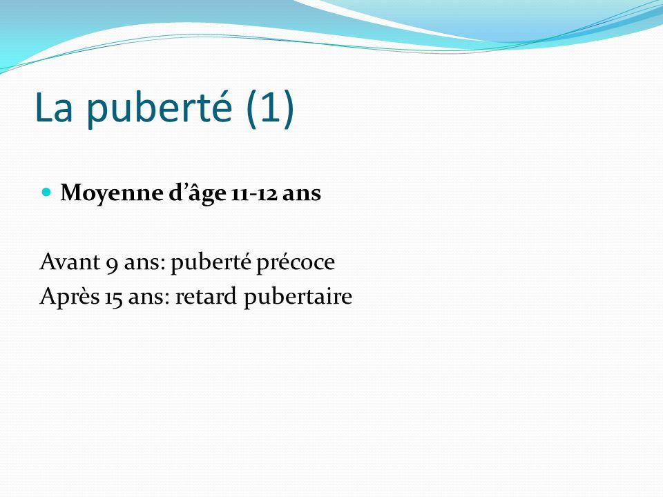 La puberté (1) Moyenne d'âge 11-12 ans Avant 9 ans: puberté précoce