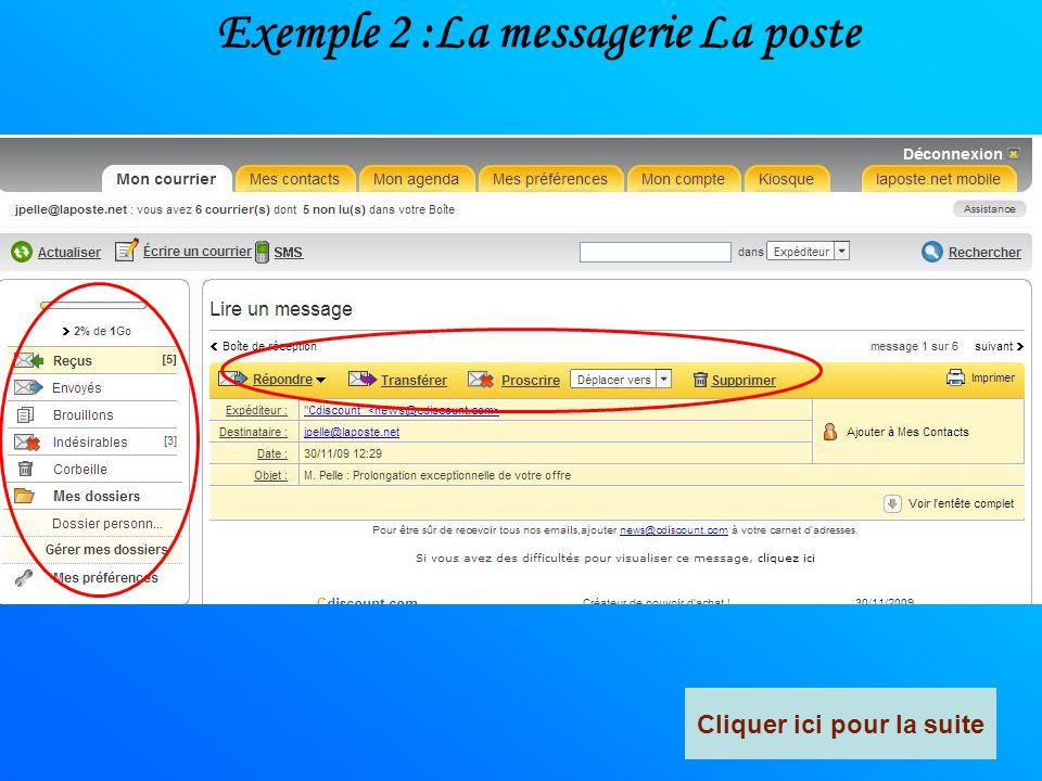 Exemple 2 :La messagerie La poste Cliquer ici pour la suite