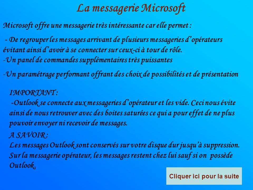 La messagerie Microsoft Cliquer ici pour la suite