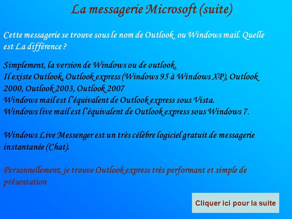 La messagerie Microsoft (suite) Cliquer ici pour la suite