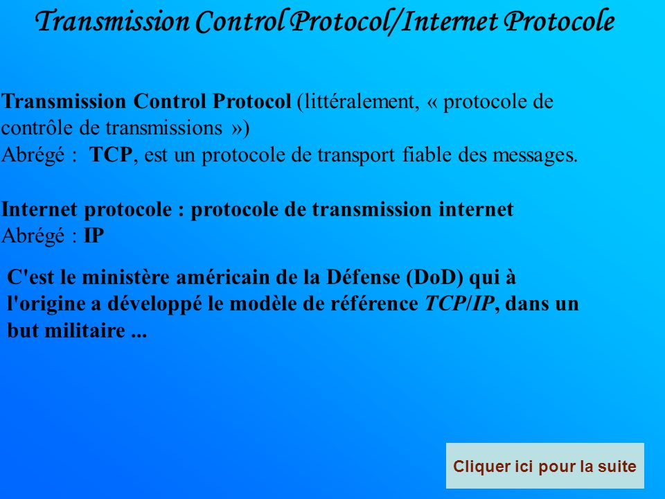 Transmission Control Protocol/Internet Protocole