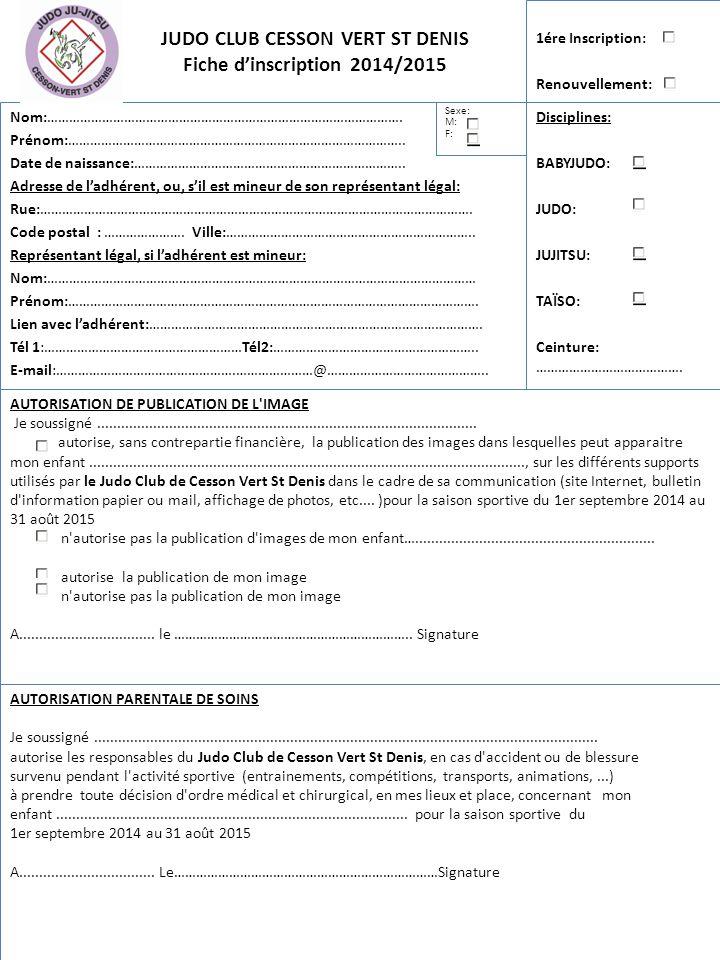 Judo club cesson vert st denis fiche d inscription 2014 - Code postal cesson ...