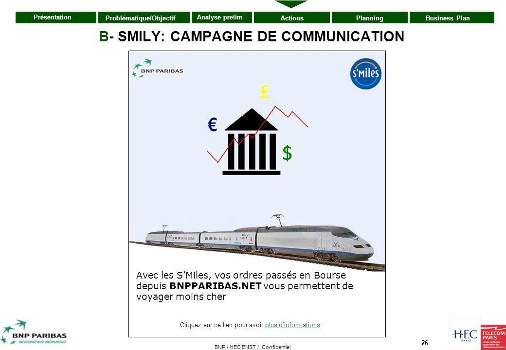 B- SMILY: CAMPAGNE DE COMMUNICATION