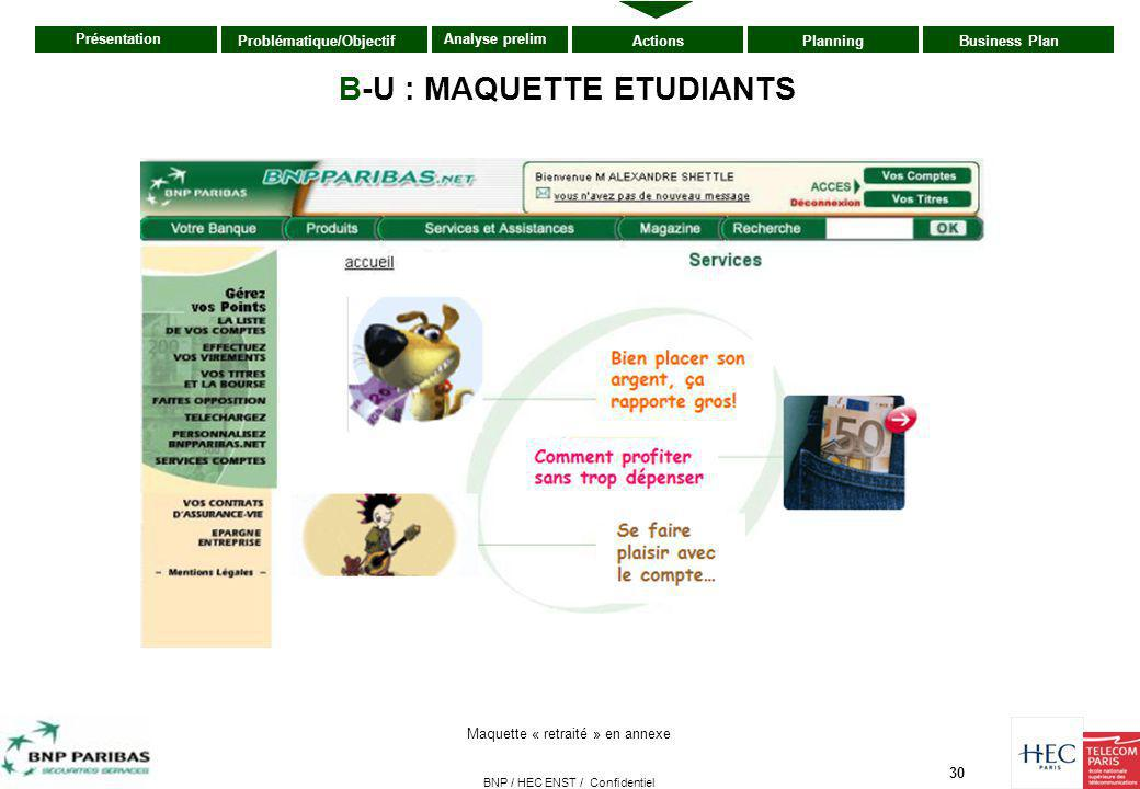 B-U : MAQUETTE ETUDIANTS