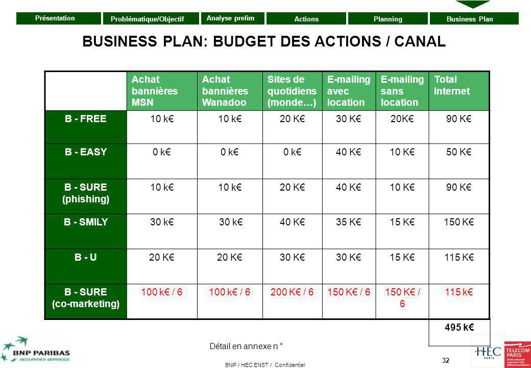 BUSINESS PLAN: BUDGET DES ACTIONS / CANAL