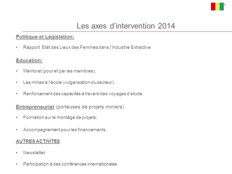 Les axes d'intervention 2014