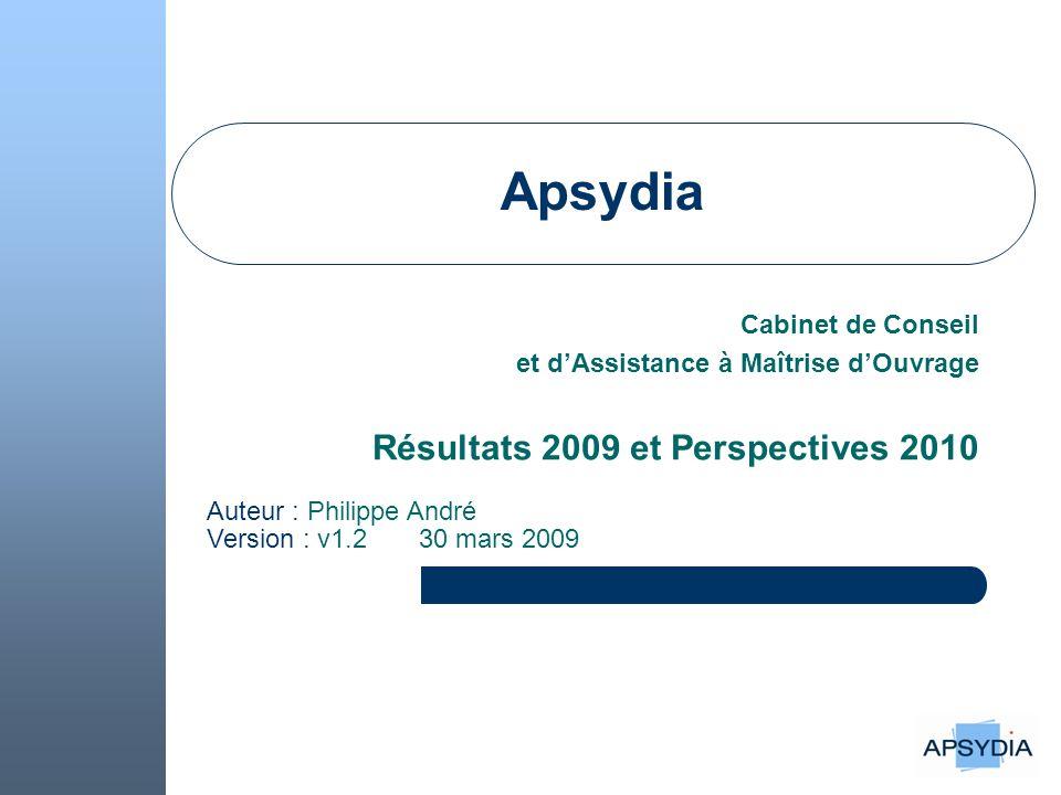 Apsydia Résultats 2009 et Perspectives 2010 Cabinet de Conseil