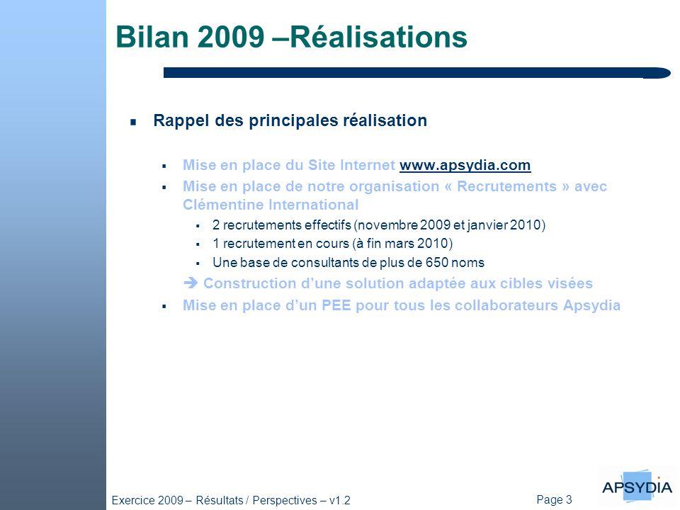 Bilan 2009 –Réalisations Rappel des principales réalisation