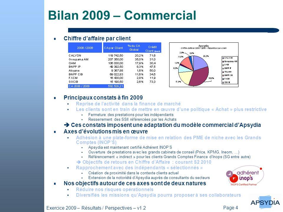 Bilan 2009 – Commercial Chiffre d'affaire par client