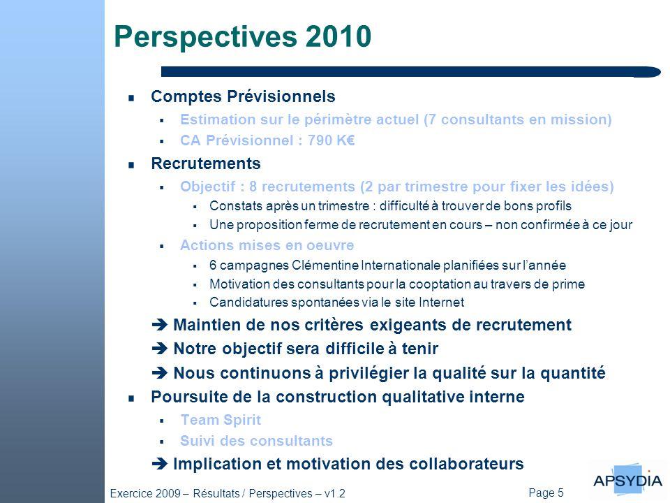 Perspectives 2010 Comptes Prévisionnels Recrutements