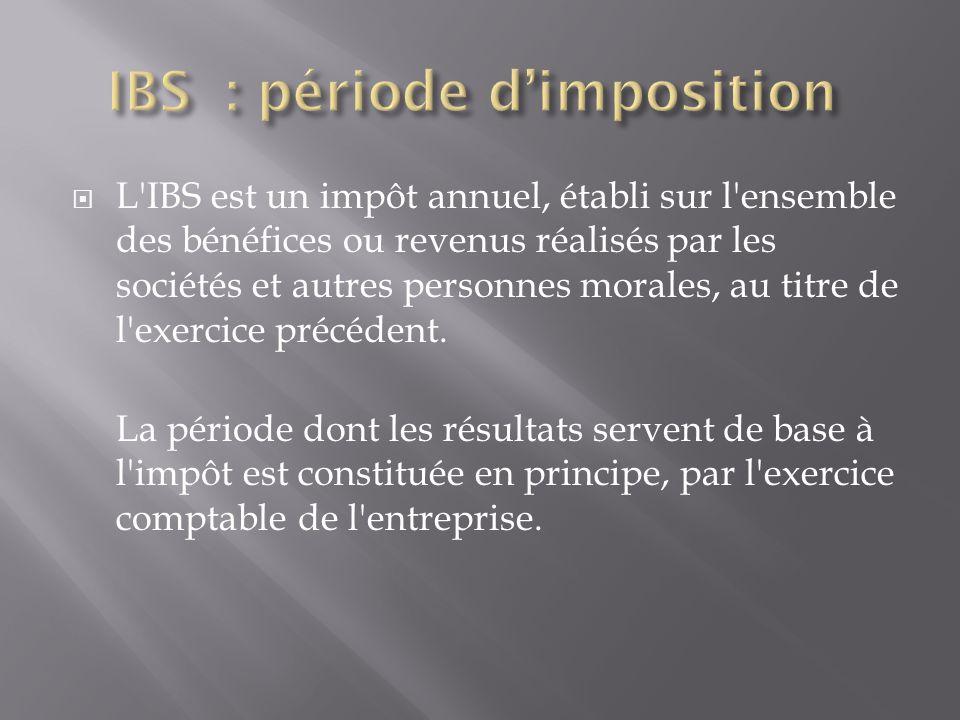 IBS : période d'imposition