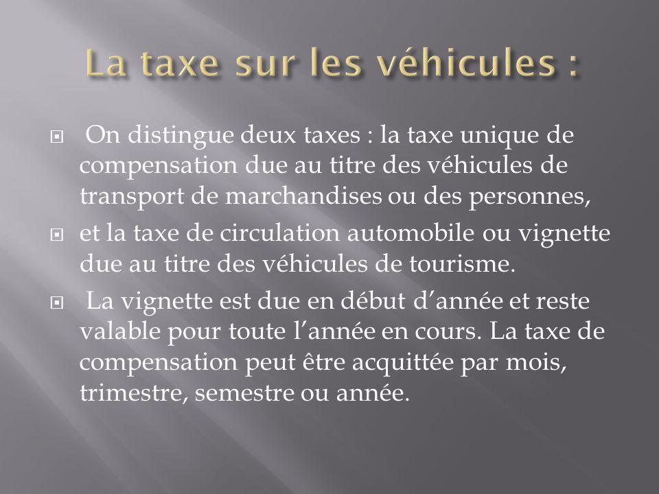 La taxe sur les véhicules :