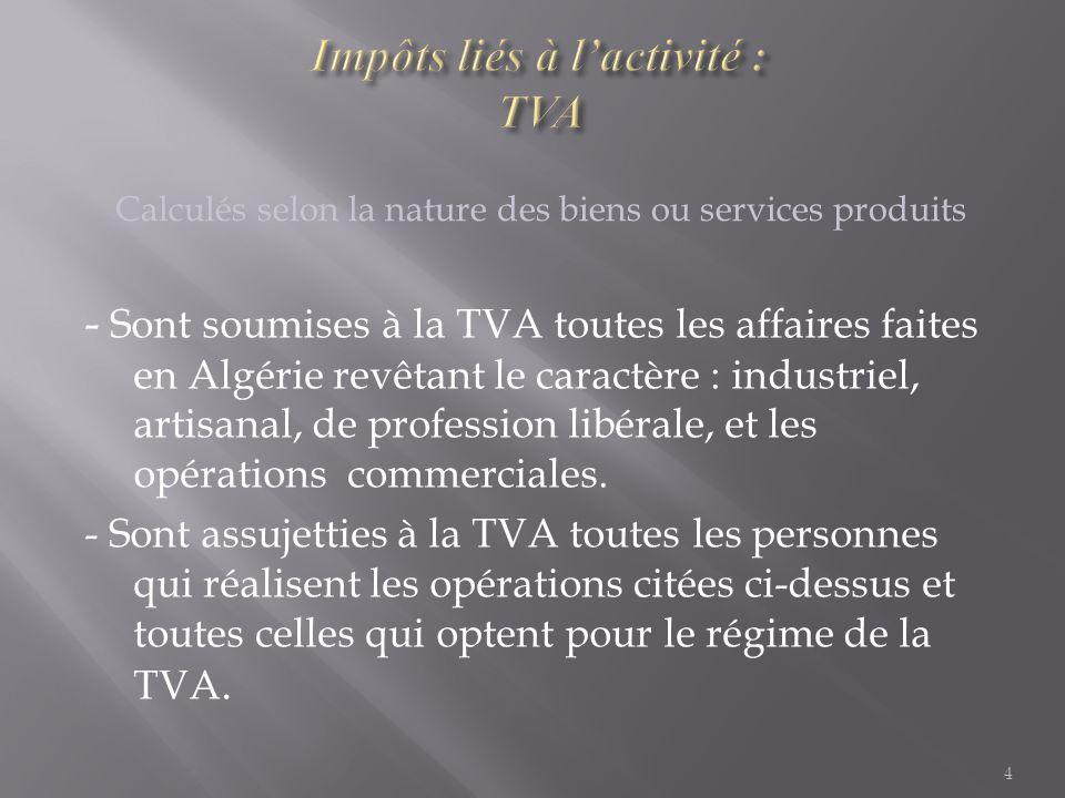 Impôts liés à l'activité : TVA