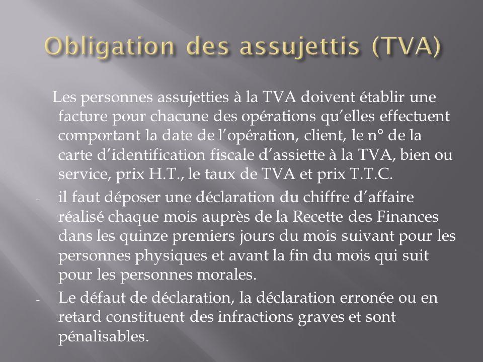 Obligation des assujettis (TVA)