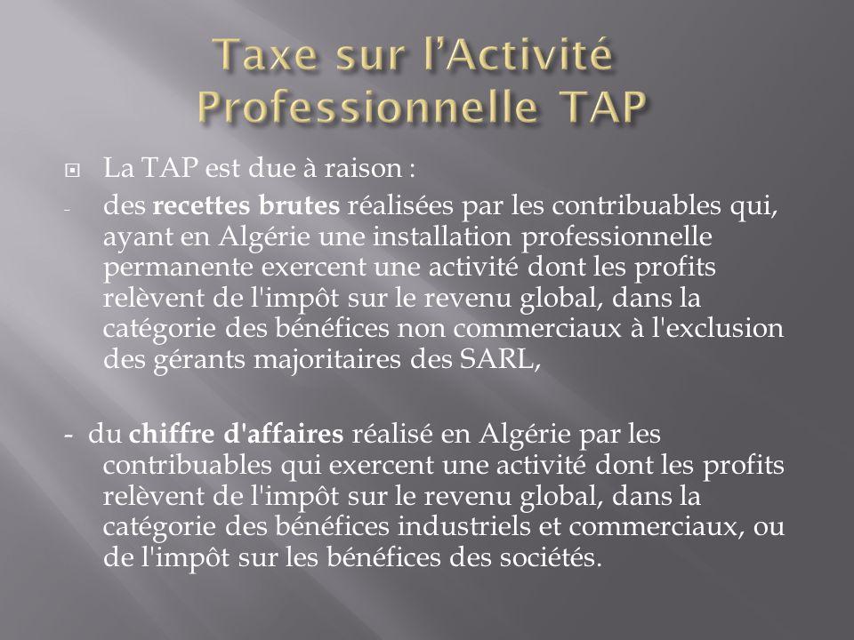 Taxe sur l'Activité Professionnelle TAP