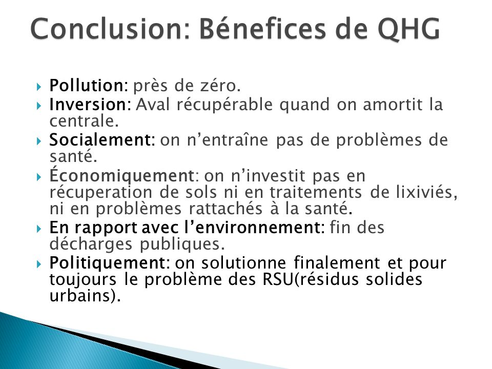 Conclusion: Bénefices de QHG
