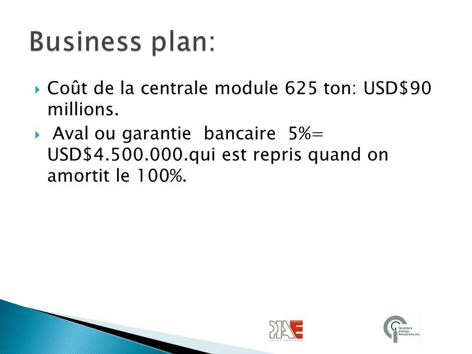 Business plan: Coût de la centrale module 625 ton: USD$90 millions.