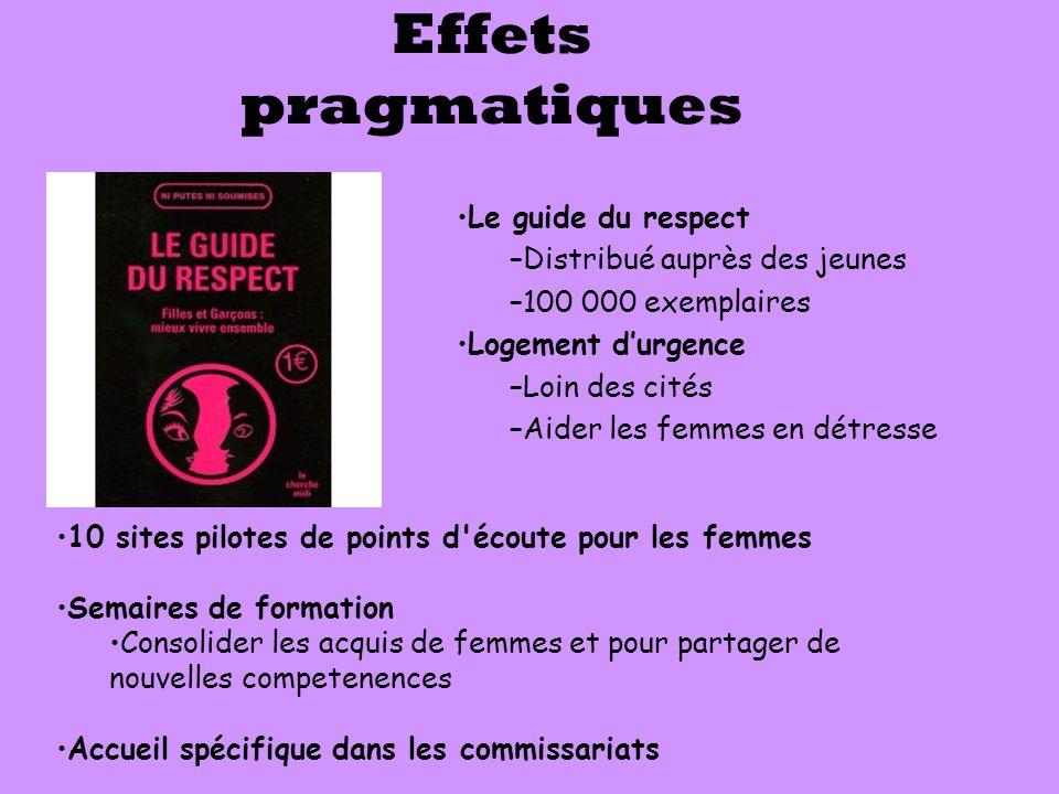Effets pragmatiques Le guide du respect Distribué auprès des jeunes