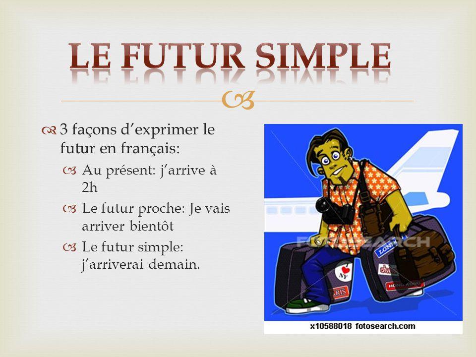 Le futur simple 3 façons d'exprimer le futur en français: