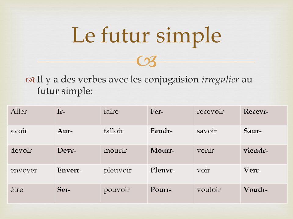 Le futur simple Il y a des verbes avec les conjugaision irregulier au futur simple: Aller. Ir- faire.