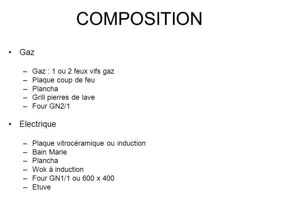 COMPOSITION Gaz Electrique Gaz : 1 ou 2 feux vifs gaz