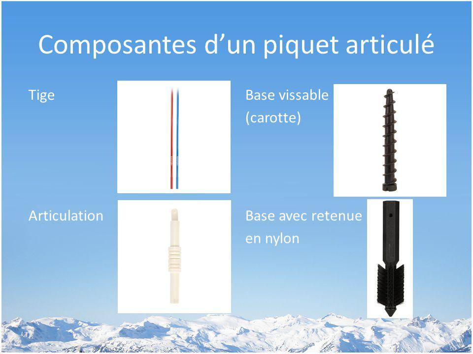Composantes d'un piquet articulé