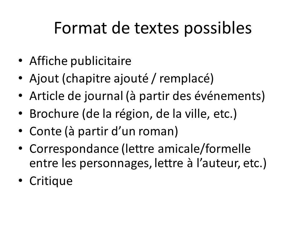 Format de textes possibles