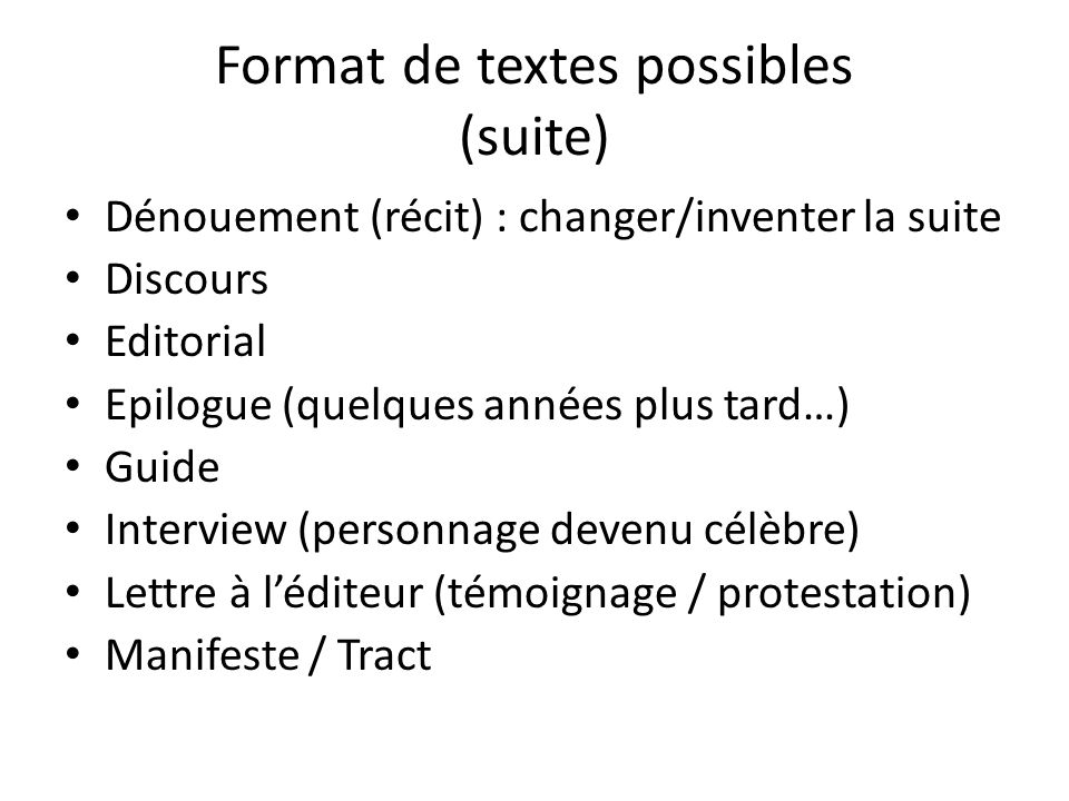 Format de textes possibles (suite)