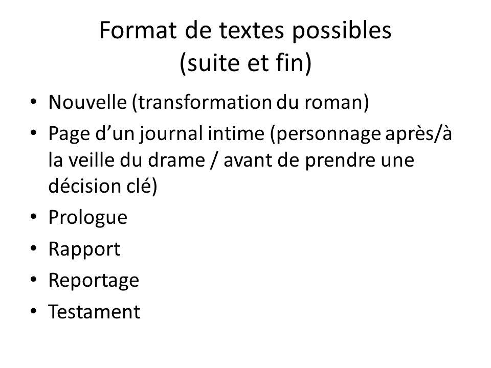 Format de textes possibles (suite et fin)