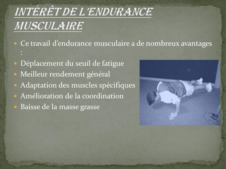 Intérêt de l'endurance musculaire