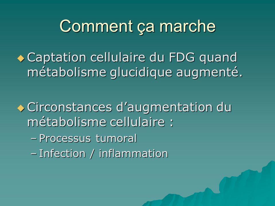 Comment ça marche Captation cellulaire du FDG quand métabolisme glucidique augmenté. Circonstances d'augmentation du métabolisme cellulaire :