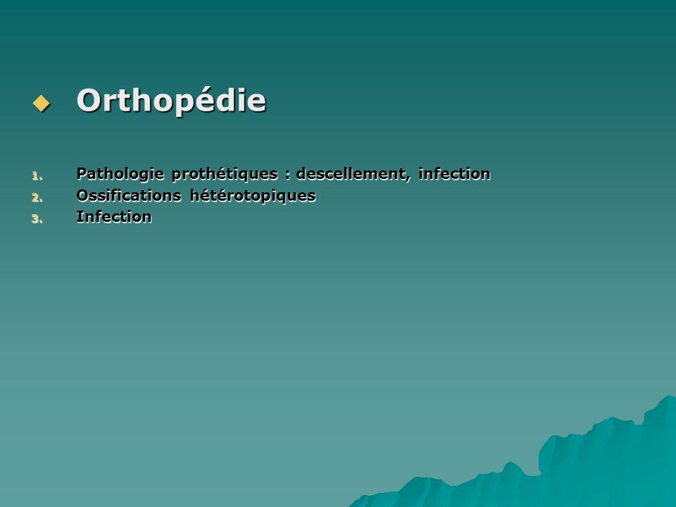 Orthopédie Pathologie prothétiques : descellement, infection