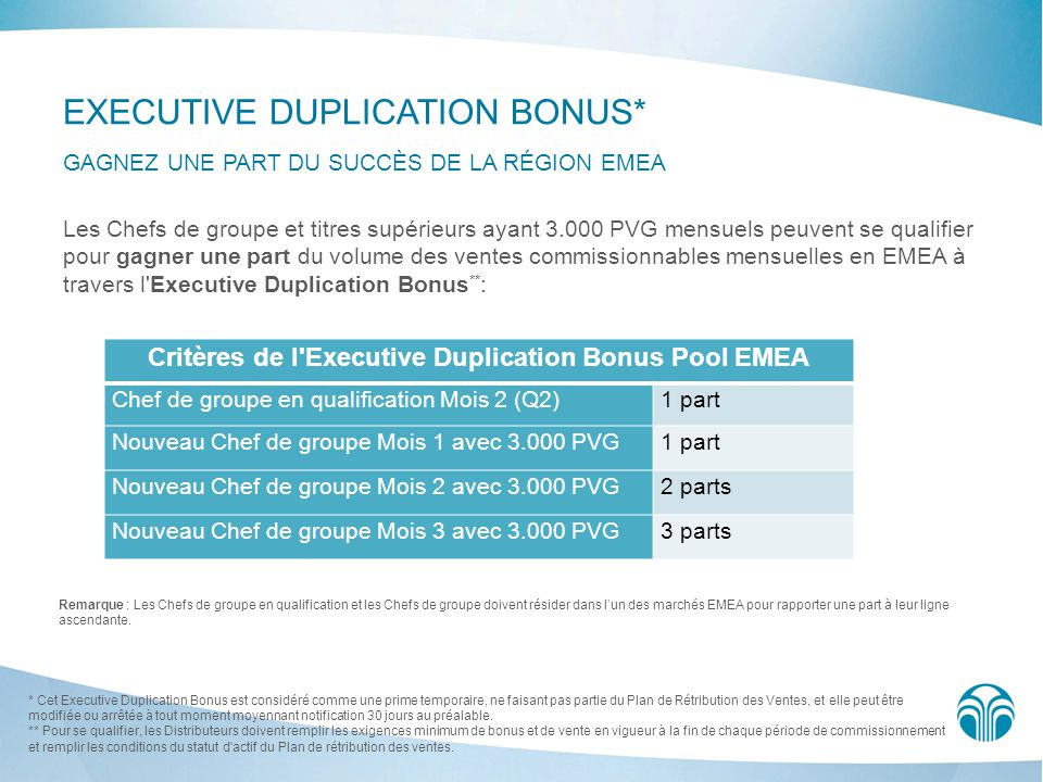 Critères de l Executive Duplication Bonus Pool EMEA