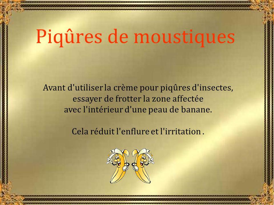 Piqûres de moustiques Avant d utiliser la crème pour piqûres d insectes, essayer de frotter la zone affectée.