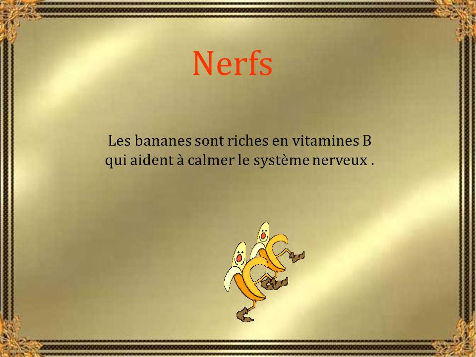 Nerfs Les bananes sont riches en vitamines B