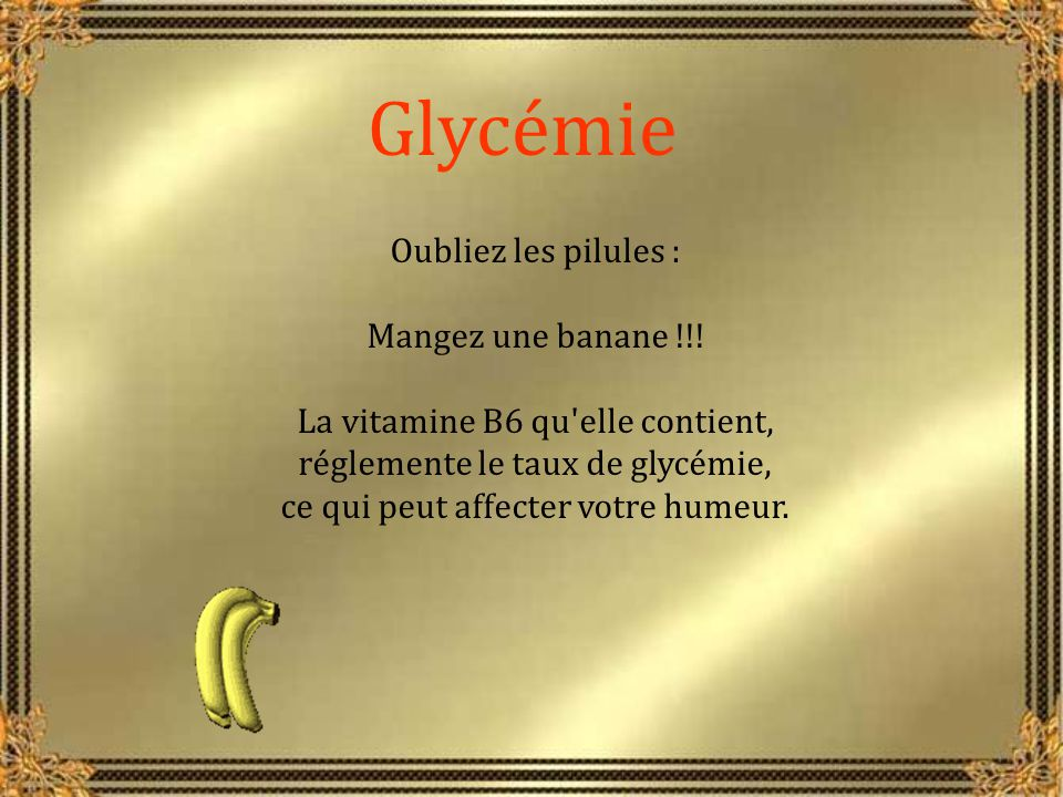 Glycémie Oubliez les pilules : Mangez une banane !!!